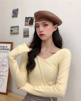 V-neck long sleeve bottoming shirt Korean style tops