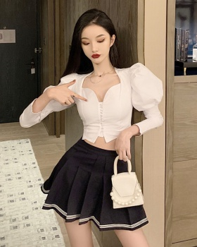 Pleated V-neck short shirt puff sleeve autumn skirt 2pcs set