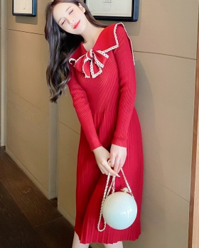 Bow knitted frenum long sleeve autumn and winter dress