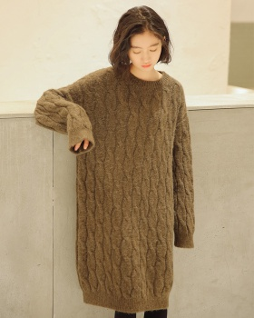 Knitted fashion loose sweater Korean style large yard dress