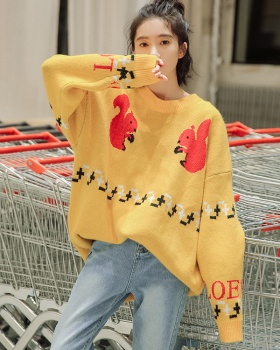 Korean style pullover long jacquard round neck sweater