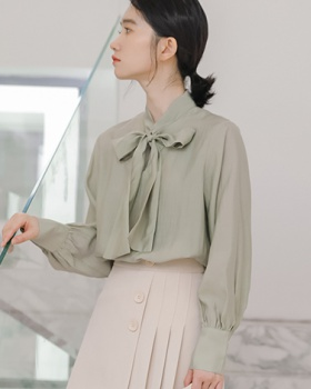 Bottoming long sleeve spring shirt loose bow all-match tops