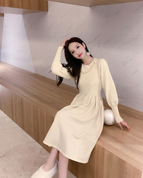 Knitted autumn and winter long simple temperament slim dress