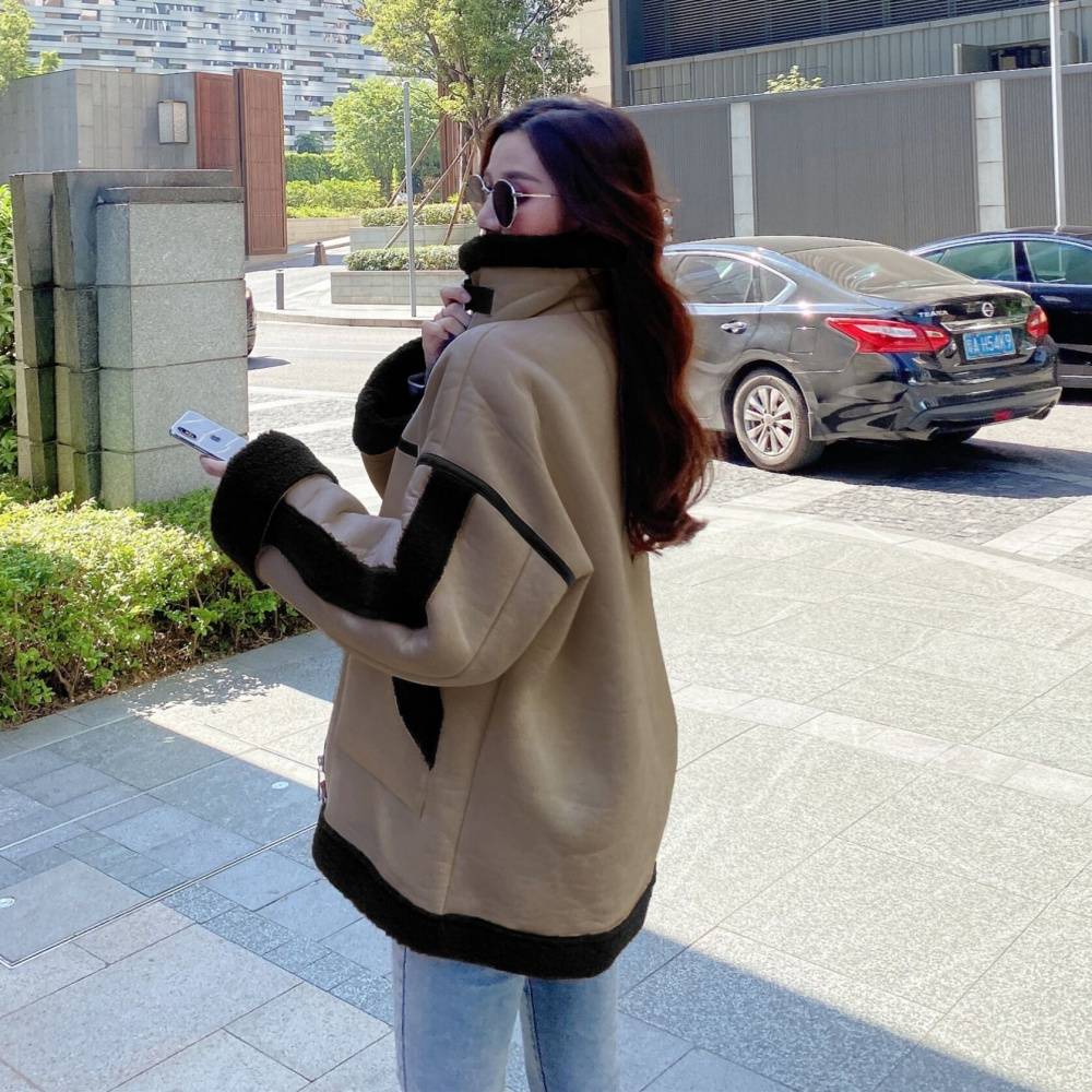 Locomotive leather cashmere coat for women