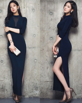 Gauze sexy long dress slim Korean style dress