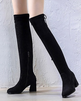 Zip slim all-match boots fashion elasticity thigh boots