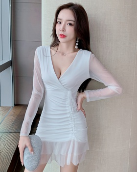 Splice low-cut slim dress perspective drawstring gauze T-back