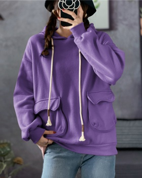 Plus velvet hooded hoodie student college style tops