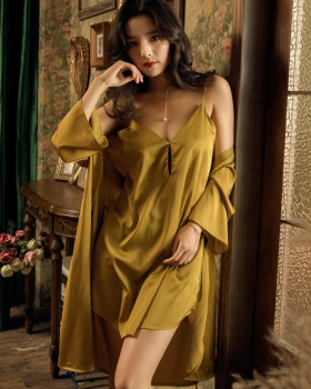 Sling sexy night dress ice silk nightgown 2pcs set for women