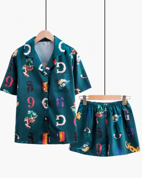 Summer homewear printing pajamas 2pcs set for women