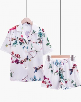 Short sleeve printing pajamas ice silk shorts 2pcs set