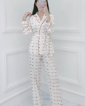 Homewear autumn cardigan long sleeve pajamas a set