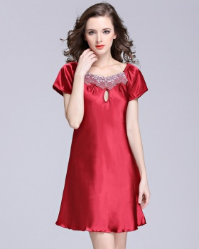 Pure silk pajamas short sleeve sexy night dress for women