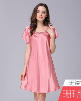Sexy pure pajamas silk homewear night dress for women