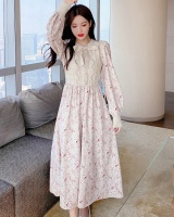 Temperament long sleeve splice long knitted bow dress