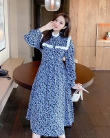 Temperament long floral autumn and winter dress