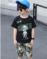Short sleeve summer handsome kids 2pcs set
