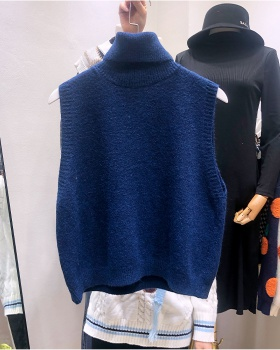 High collar slim loose sweater knitted pullover waistcoat