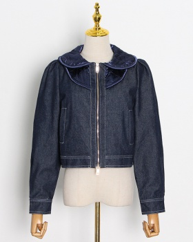 Wood ear winter denim jacket Casual temperament zip coat for women
