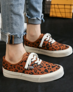 Cotton leopard shoes canvas plus velvet board shoes for women