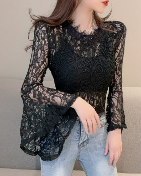 Lace zip hollow stereoscopic sexy trumpet sleeves tops