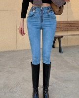 Slim elasticity long pants high waist Western style jeans