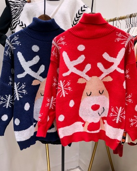 Lazy autumn and winter high collar loose christmas sweater
