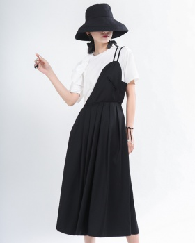 Irregular romantic dress long semicircle strap dress