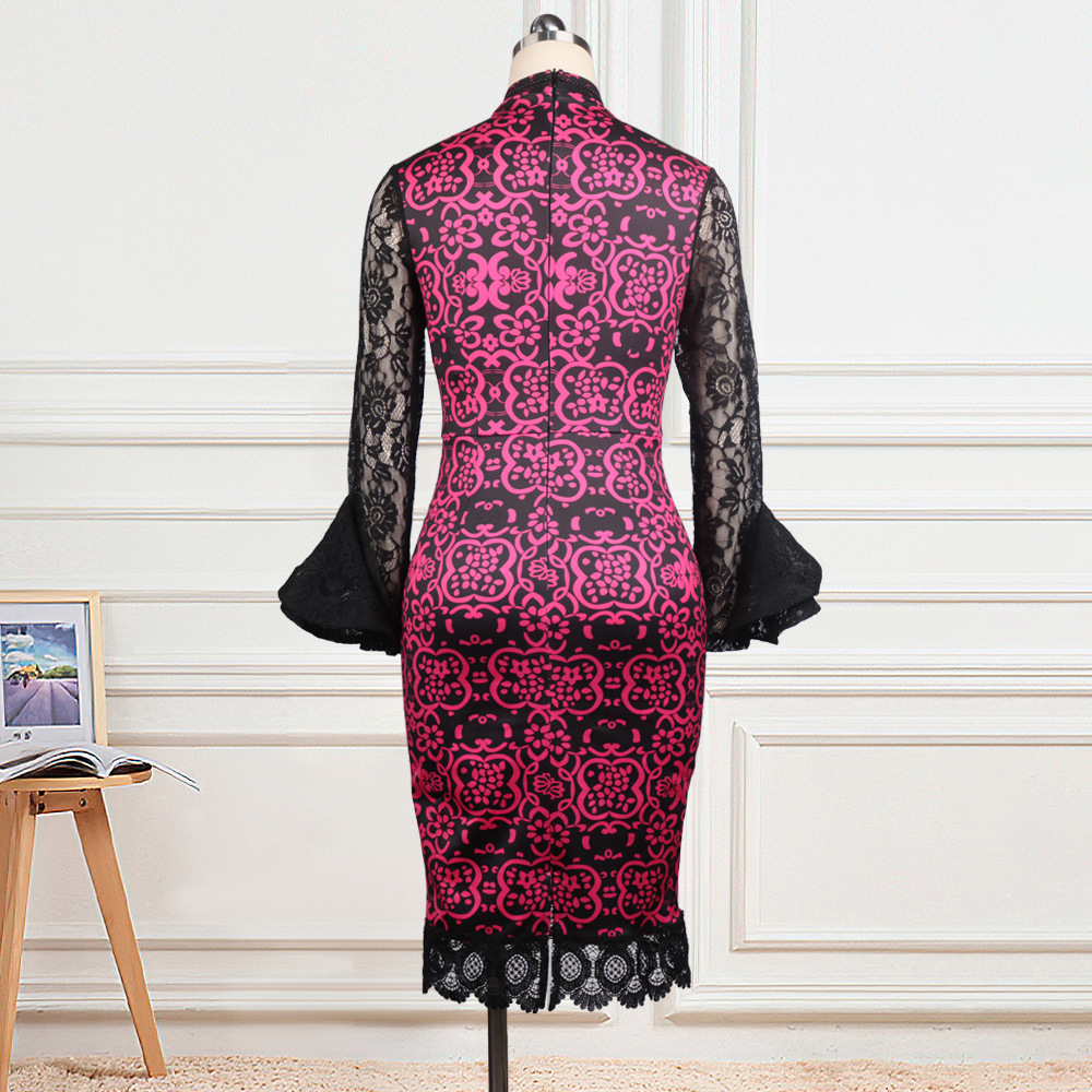 Perspective sexy splice high waist slim beading dress for women