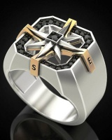 European style retro antique silver ring for men
