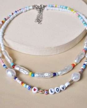 Beads pearl accessories letters geometry necklace