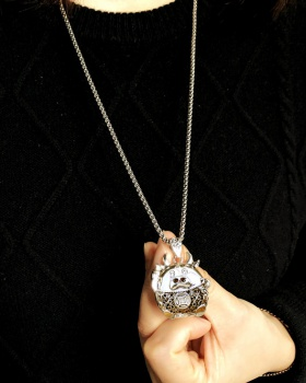 Steel stereoscopic national style long pendant necklace