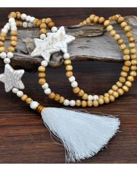 White tassels European style turquoise necklace for women