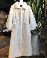 Pure white black European style long coat