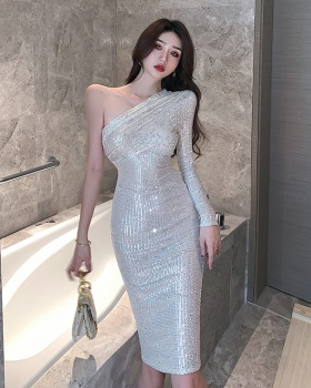 Sexy shoulder shiny formal dress sequins ladies dress