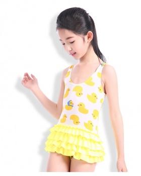 Conjoined Korean style swimwear child girl skirt