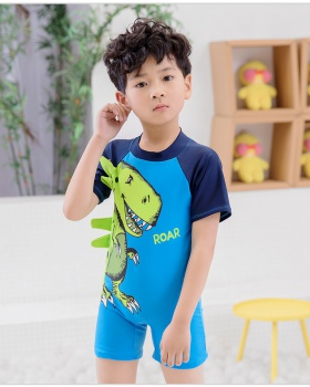 Lovely cartoon boy conjoined short sleeve swimwear