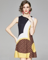 Fashion slim pinched waist vest printing all-match dress