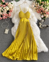 Pleated fashion sling formal dress summer temperament dress