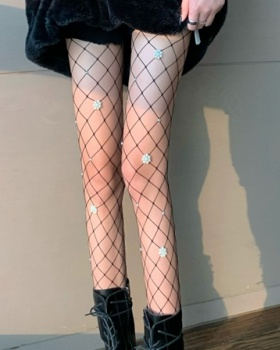 Pearl fishing net tights beading flowers stockings