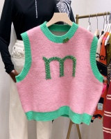 Sleeveless letters vest knitted outside the ride waistcoat