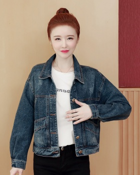 All-match spring and autumn coat printing denim tops