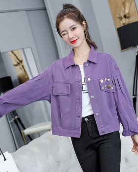 Spring and autumn all-match tops denim purple jacket