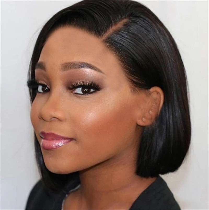 Short black straight hair European style wig for women