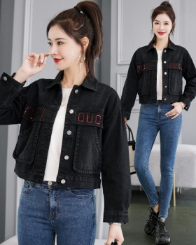 All-match short denim tops loose Korean style jacket for women