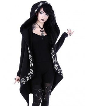 Punk style long sleeve cardigan moon hoodie for women