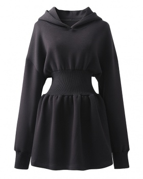 Hooded tops pinched waist hoodie for women