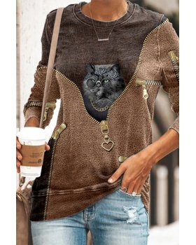 Printing animal tops long sleeve hoodie for women