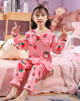 Spring and autumn long sleeve child lace pajamas a set