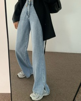 Split all-match slim jeans high waist spring wide leg pants